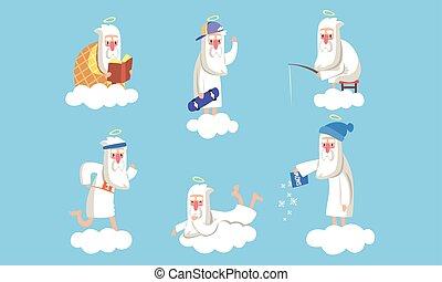 situaciones, hombre, vector, carácter, ilustración, viejo, colección, actividad, diferente, anciano, ángel, macho, cielo, santo