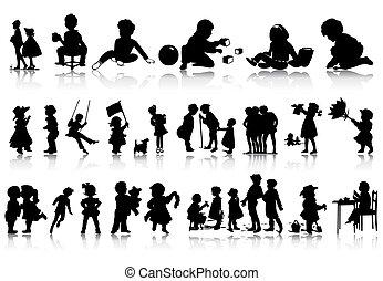 situations., ilustración, siluetas, vector, vario, niños