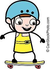 Skateboarding - chica linda dibujo animado ilustración vector de caracter
