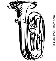 Sketch del instrumento musical del tubo de cobre