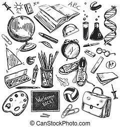 Sketch doodles de vuelta a la escuela