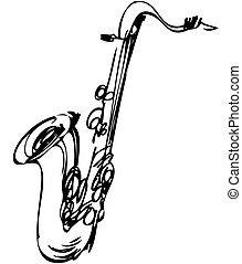 Sketch toca instrumentos musicales saxofón tenor