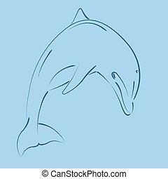 sketched, delfín, saltar