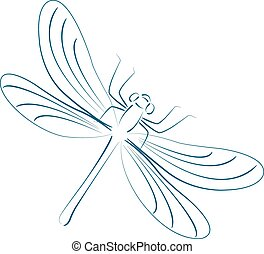 sketched, dragonfly.