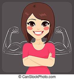 sketched, músculo, mujer, fuerte