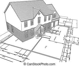 sketched, planes, casa