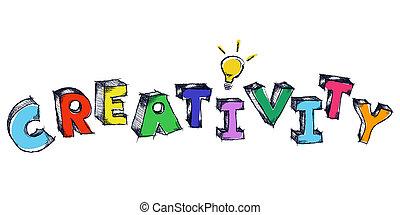 sketchy, creatividad, colorido, bombilla, luz, palabra