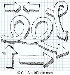Sketchy doodle 3D flechas del vector