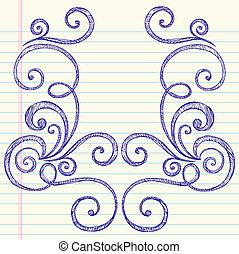 Sketchy doodles arremolina el vector del marco