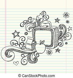 sketchy, fiambrera, escuela, doodles