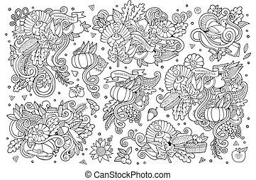 sketchy, garabato, objetos, conjunto, caricatura, mano, dibujado