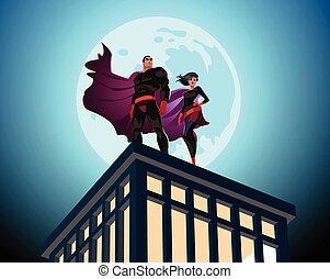 sky., vector, superhero, macho, nublado, hembra, pareja., ilustración, superheroes.