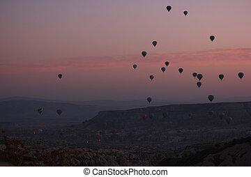 sky., vuelo, caliente, encima, aire, rocoso, globos, ocaso, paisaje