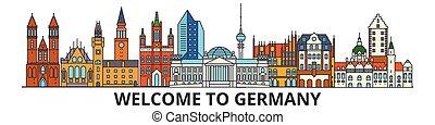 Skyline de Alemania, iconos de delgada línea plana, puntos de referencia, ilustraciones. Alemania Cityscape, la bandera de viajeros alemanes. Silueta urbana