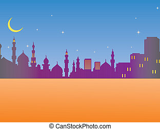 Skyline de arquitectura islámica