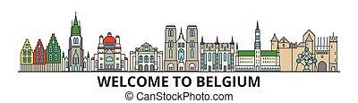 Skyline de Bélgica, iconos de delgada línea lima belgiana, puntos de referencia, ilustraciones. Cityscape belga, vector belgian de la ciudad. Silueta urbana