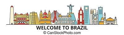 Skyline de Brasil, iconos de línea plana brasileña, puntos de referencia, ilustraciones. Brasil Cityscape, vector de viajero brasileño de la ciudad. Silueta urbana