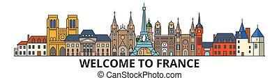 Skyline de Francia, iconos de línea delgada francesa, puntos de referencia, ilustraciones. France Cityscape, el estandarte del vector de viaje francés de la ciudad. Silueta urbana