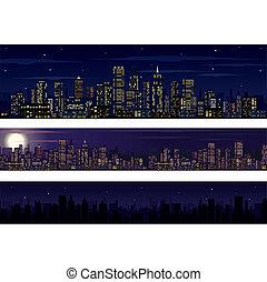 Skyline de la ciudad. Colección del horizonte nocturno