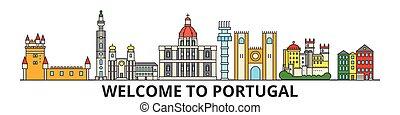 Skyline de Portugal, iconos de delgada línea plana plana, puntos de referencia, ilustraciones. Portugal paisaje urbano, la bandera portuguesa del vector de la ciudad. Silueta urbana