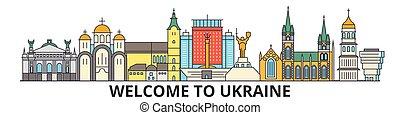 Skyline de Ucrania, ucranianos de delgada línea iconos, puntos de referencia, ilustraciones. Ucrania Cityscape, vector de viaje ucraniano. Silueta urbana
