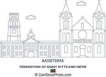 Skyline lineal de Basseterre, federación de santos kitts y nevis