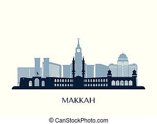 Skyline Makkah, silueta de monocromo.