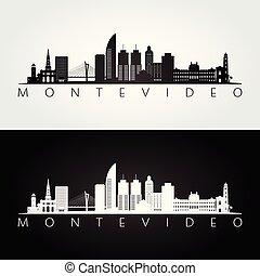 Skyline Montevideo y silueta de puntos de referencia