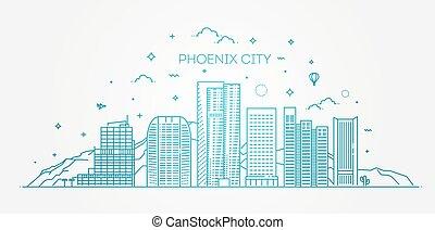 Skyline Phoenix, silueta detallada