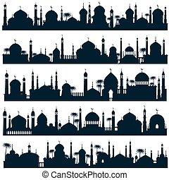 Skylines de la ciudad islámica con mezquita y vector minarete siluetas arquitectura árabe
