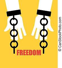 slavery., handcuffs., cadena, liberación, roto, fetters., freedom.