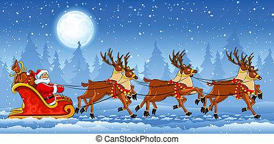 sleigh, equitación, claus, navidad, santa