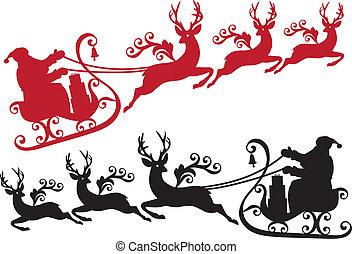 sleigh, reno, santa