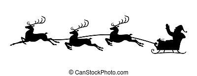 sleigh, silueta, santa, equitación, reno