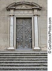 s.lorenzo, di, ingresso, duomo, viterbo, al, portone