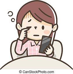 smartphone, despertar, opera, mujer, mientras, arriba, joven