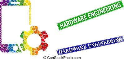 smartphone, hardware, ingeniería, sellos, punteado, mosaico, caucho, espectro, engranaje, gradiente, reparación, estampilla
