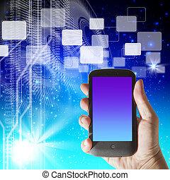 smartphone, hola-hi-tech, mano, plano de fondo, futurista, exposiciones