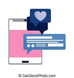 smartphone, medios, burbuja, charla, amor, social, discurso