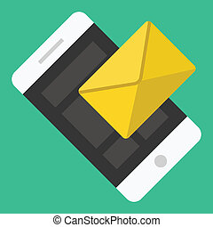 smartphone, sms, email, vector, o, icono
