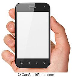 smartphone, tenencia, genérico, render., mano, fondo., teléfono móvil, blanco, elegante, 3d