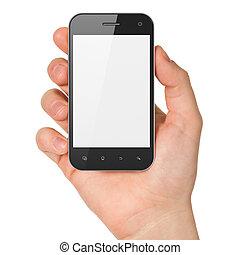 smartphone, tenencia, render, genérico, mano, fondo., teléfono móvil, blanco, elegante, 3d