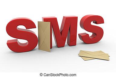 sms, sobre, 3d