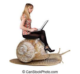 snail., concepto, lentitud, technologies., computador portatil, moderno, aislado, rubio, atractivo, plano de fondo, equitación, niña, blanco