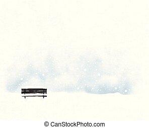 snowfall., paisaje, vector, minimalista, banco, viejo, negro, estilo, invierno, ilustración