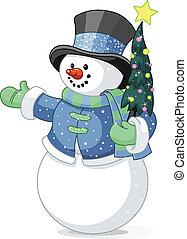 snowman, árbol de navidad