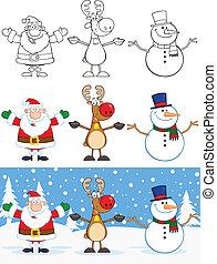 snowman, claus, santa, reno
