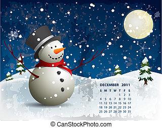 snowman, diciembre, calendario, -