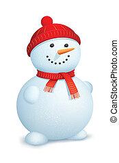 snowman, llevando, bufanda