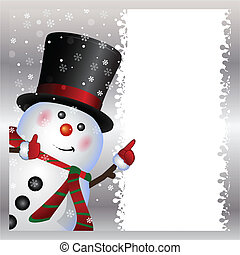 snowman, llevando, tarjeta